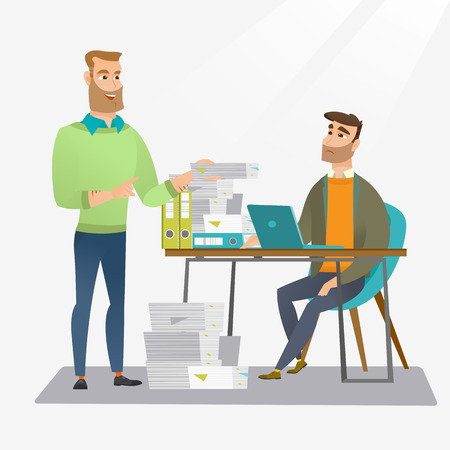paperwork: Unhappy caucasian office worker receiving a lot of paperwork. Happy office worker giving a lot of paperwork to his colleague. Concept of paperwork. Vector flat design illustration. Square layout.