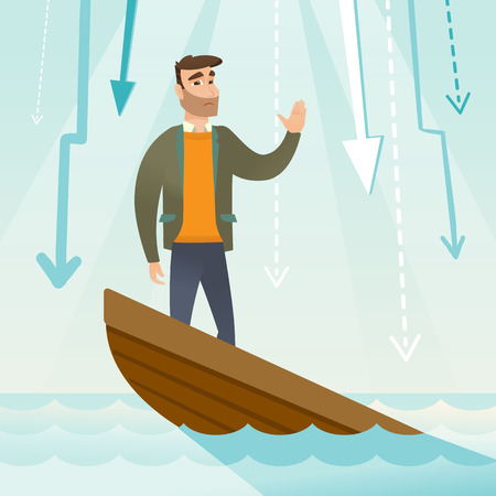 Caucasian businessman bankrupt standing in sinking boat and asking for help. Bankrupt sinking and arrows behind him symbolizing business bankruptcy. Vector flat design illustration. Square layout. Illustration