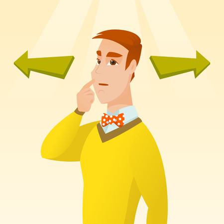 Caucasian businessman thinking about solution of business problem. Businessman with two arrows symbolizing business solution. Business solution concept. Vector flat design illustration. Square layout. Vettoriali