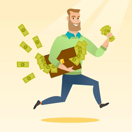 Caucasian business man running with briefcase full of money and committing economic crime. Smiling business man stealing money. Economic crime concept. Vector flat design illustration. Square layout.