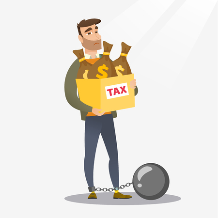 Chained caucasian taxpayer carrying heavy bags with taxes. Upset taxpayer holding heavy bags with dollar sign. Concept of tax time and taxpayer. Vector flat design illustration. Square layout.