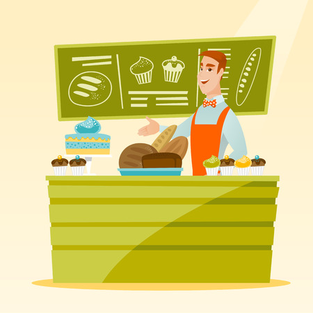 caucasians: Caucasian young happy bakery owner offering pastry. Smiling bakery owner standing behind the counter with pastry. Cheerful man working at the bakery. Vector flat design illustration. Square layout.