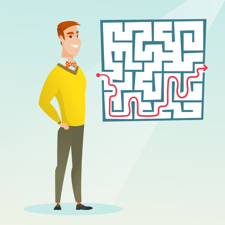 Young cheerful businessman looking at the labyrinth with solution. Caucasian businessman thinking about business solution. Business solution concept. Vector flat design illustration. Square layout. 向量圖像