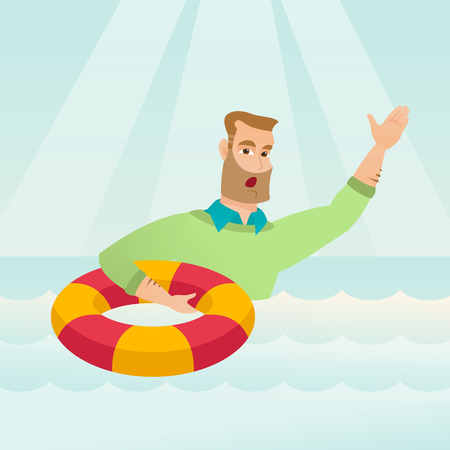 Frightened business man sinking and asking for help. Afraid caucasian business man with lifebuoy sinking and waving. Concept of failure in business. Vector flat design illustration. Square layout. Illustration