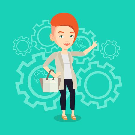 came: Caucasian businesswoman pointing finger up because she came up with business idea. Businesswoman having business idea. Successful business idea concept. Vector flat design illustration. Square layout