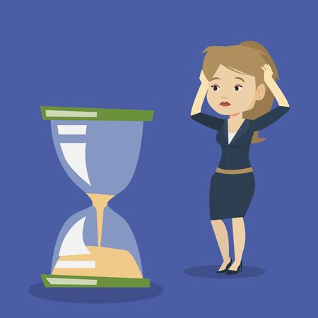 worrying: Caucasian business woman looking at hourglass symbolizing deadline. Business woman worrying about deadline terms. Time management and deadline concept. Vector flat design illustration. Square layout.