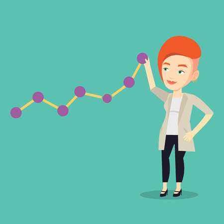 lift up: Young business woman looking at chart going up. Businesswoman lifting a business chart. Caucasian businesswoman pulling up a business chart. Vector flat design illustration. Square layout.