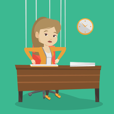 marionette: Caucasian business woman hanging on strings like marionette. Business woman marionette on ropes sitting in office. Emotionless marionette woman working. Vector flat design illustration. Square layout.