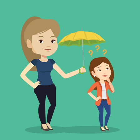 Caucasian business woman holding umbrella over young woman. Woman standing under umbrella and question marks. Concept of protection and insurance. Vector flat design illustration. Square layout. Illustration