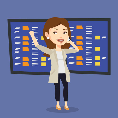 stock exchange brokers: An excited caucasian business woman talking on mobile phone on the background of display of stock market quotes. Happy stockbroker at stock exchange. Vector flat design illustration. Square layout. Illustration