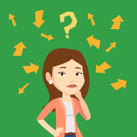 businesswoman standing: Caucasian businesswoman standing under question mark and arrows. Businesswoman thinking. Thoughtful businesswoman surrounded by question mark and arrows. Vector flat design illustration. Square layout