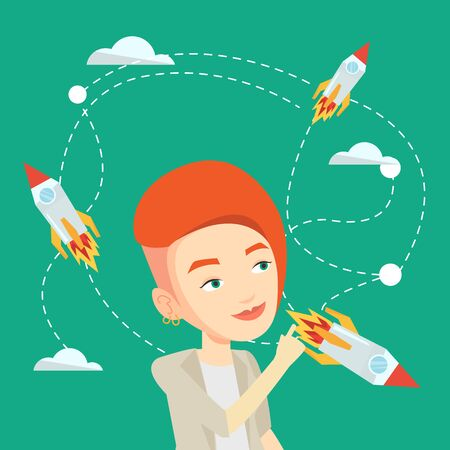 came: Caucasian business woman looking at flying start uo rockets. Young woman came up with an idea for a business startup. Business startup concept. Vector flat design illustration. Square layout. Illustration
