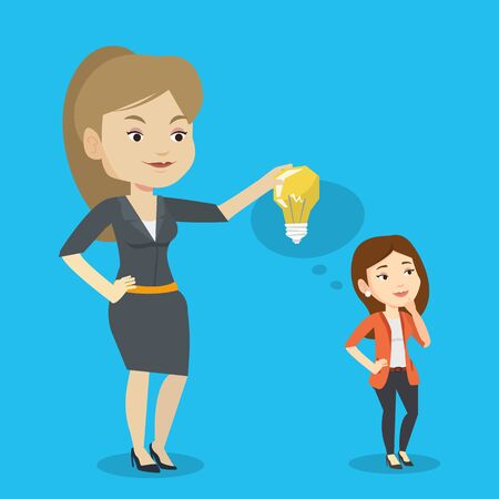 Cheerful caucasian business woman giving idea to her partner. Young woman holding idea light bulb over head of her collegue. Business idea concept. Vector flat design illustration. Square layout.