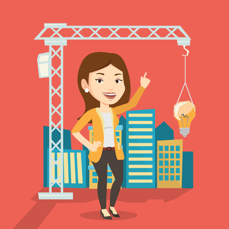 town planning: Young caucasian woman pointing at idea light bulb hanging on crane. Architect having idea in town planning. Concept of new ideas in architecture. Vector flat design illustration. Square layout. Illustration