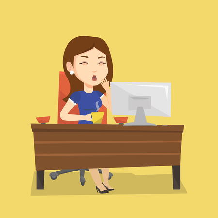Sleepy tired business woman holding a cup and yawning while working in office. Exhausted business woman yawning and drinking coffee at work in office. Vector flat design illustration. Square layout.