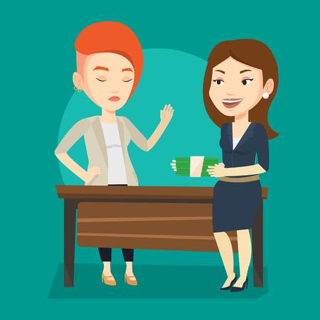 Caucasian businesswoman giving a bribe. Uncorrupted businesswoman refusing to take a bribe. Woman rejecting to take bribe. Bribery, corruption concept. Vector flat design illustration. Square layout.