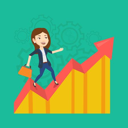 Kaukaski udanego biznesu kobiety stojącej na wykresie zysku. Młoda szczęśliwa kobieta biznesu wzdłuż wykresu zysku. Koncepcja zysku firmy. Ilustracja wektorowa Płaska konstrukcja. Układ kwadratowy. Ilustracje wektorowe