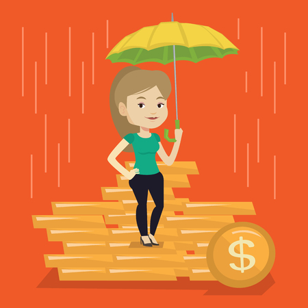 Caucasian business woman insurance agent. Female insurance agent holding umbrella over golden coins. Business insurance and business protection concept. Vector flat design illustration. Square layout. Illusztráció