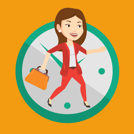 Busy caucasian business woman running on the background with clock. Young busy business woman in a hurry. Concept of deadline and busy time. Vector flat design illustration. Square layout. Illustration