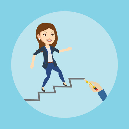 career ladder: Caucasian business woman running up the career ladder drawn by hand. Happy business woman climbing the career ladder. Concept of business career. Vector flat design illustration. Square layout. Illustration