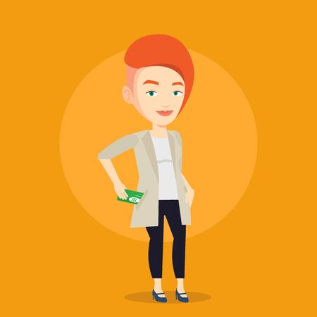 bribery: Caucasian business woman putting money bribe in her pocket. Young business woman hiding money bribe in pants pocket. Bribery and corruption concept. Vector flat design illustration. Square layout.