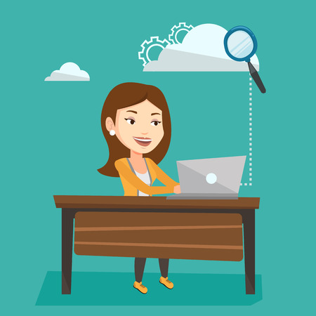 cloud computing technologies: Young smiling business woman working on laptop under cloud. Caucasian business woman using cloud computing technologies. Cloud computing concept. Vector flat design illustration. Square layout.