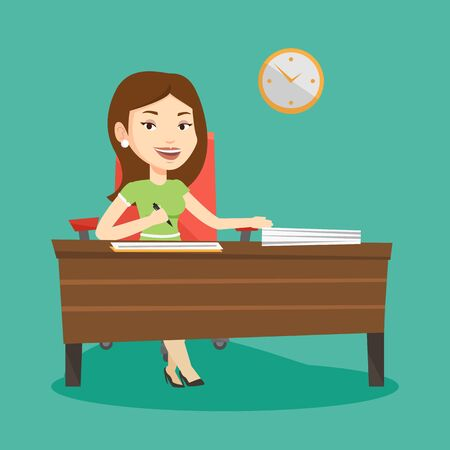 subscribing: Woman signing business documents in office. Woman is about to sign a business agrement. Confirmation of transaction by signing of business contract. Vector flat design illustration. Square layout. Illustration