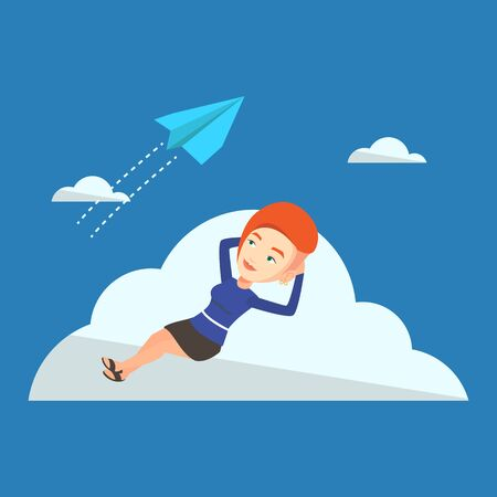 flying paper: Business woman lying on a cloud and looking at flying paper plane. Caucasian business woman relaxing on a cloud. Business woman resting on a cloud. Vector flat design illustration. Square layout.