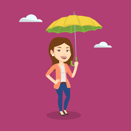 Caucasian cheerful female insurance agent. Female insurance agent standing safely under umbrella. Business insurance and business protection concept. Vector flat design illustration. Square layout.