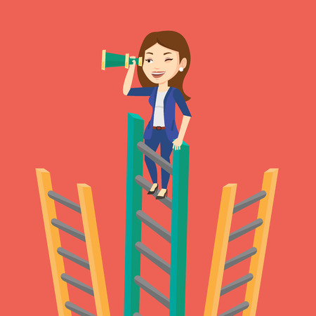 looking for job: Young business woman searching for opportunities. Caucasian business woman using spyglass for searching of opportunities. Business opportunities concept. Vector flat design illustration. Square layout