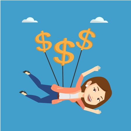 Caucasian business woman flying with dollar signs. Happy business woman gliding in the sky with dollars. Business woman using dollar signs as parachute. Vector flat design illustration. Square layout. Illustration