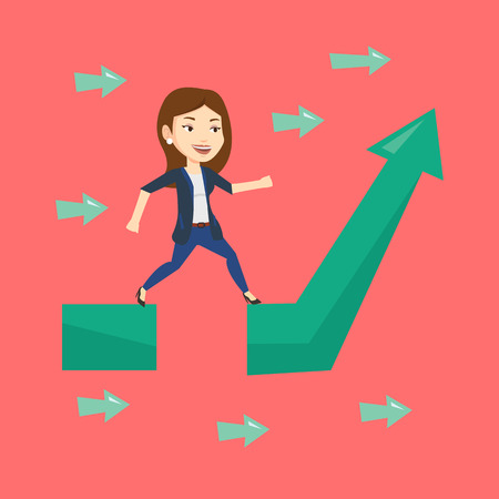 business obstacle: Young businesswoman facing with business obstacle. Caucasian businesswoman coping with business obstacle successfully. Business obstacle concept. Vector flat design illustration. Square layout.