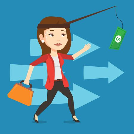 sweaty: Money on fishing rod as motivation for businesswoman. Caucasian business woman motivated by money hanging on fishing rod. Concept of business motivation. Vector flat design illustration. Square layout