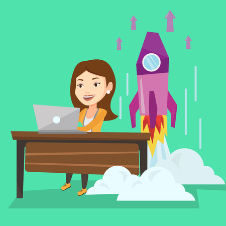Young caucasian businesswoman working on laptop on business start up and business start up rocket taking off behind her. Business start up concept. Vector flat design illustration. Square layout. 向量圖像