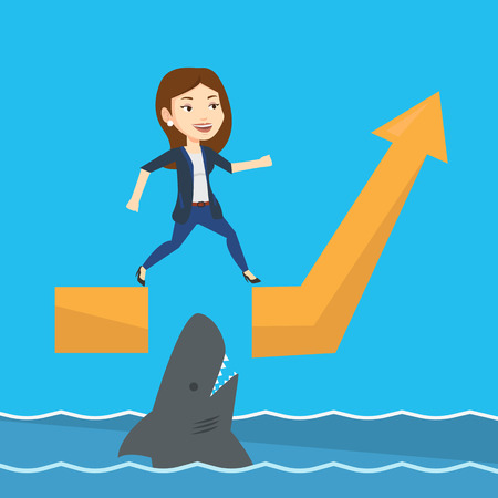 Business woman running on ascending graph and jumping over gap. Businessman jumping over ocean with shark. Business growth and business risks concept. Vector flat design illustration. Square layout