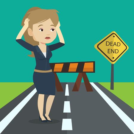 business obstacle: Caucasian businesswoman looking at road sign dead end symbolizing business obstacle. Woman facing with business obstacle. Business obstacle concept. Vector flat design illustration. Square layout.