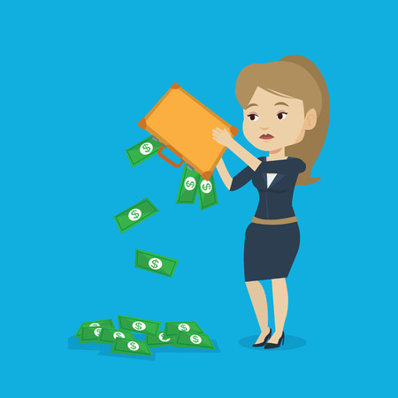 emptying: Depressed caucasian female bankrupt shaking out money from her briefcase. Despaired bankrupt business woman emptying a briefcase. Bankruptcy concept. Vector flat design illustration. Square layout. Illustration