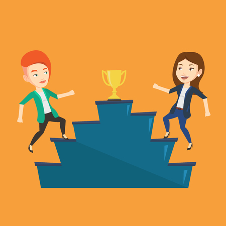 Two caucasian businesswomen competing to get golden trophy. Two competitive businesswomen running up for the winner cup. Business competition concept. Vector flat design illustration. Square layout. Illustration