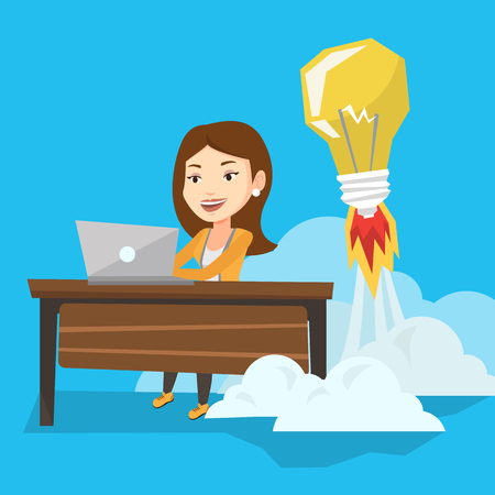 Caucasian business woman working on laptop in office and idea bulb taking off behind her. Woman having business idea. Successful business idea concept. Vector flat design illustration. Square layout.
