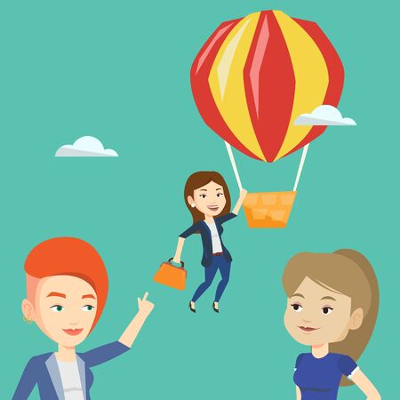 hot woman: Two young caucasian employees looking at their successful colleague. Hardworking worker flying away in a balloon from her less successful colleagues. Vector flat design illustration. Square layout.
