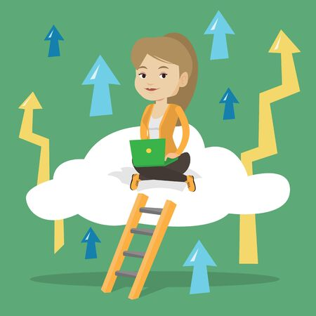 Caucasian business woman sitting on a cloud and working on her laptop. Business woman using cloud computing technology. Cloud computing concept. Vector flat design illustration. Square layout.