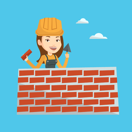 building wall: Young female bricklayer in uniform and hard hat. Caucasian bicklayer working with spatula and brick on construction site. Bricklayer building brick wall. Vector flat design illustration. Square layout