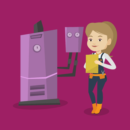 heating engineers: Female caucasian plumber making some notes in her clipboard. Plumber inspecting heating system in boiler room. Female plumber in overalls at work. Vector flat design illustration. Square layout. Illustration