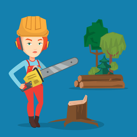 Caucasian female lumberjack holding chainsaw. Lumberjack in workwear, hard hat and headphones at the forest near stump. Female lumberjack chopping wood. Vector flat design illustration. Square layout.