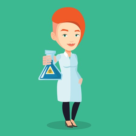 caution chemistry: Young laboratory assistant holding a flask with biohazard sign. Caucasian laboratory assistant in medical gown showing a flask with biohazard sign. Vector flat design illustration. Square layout.