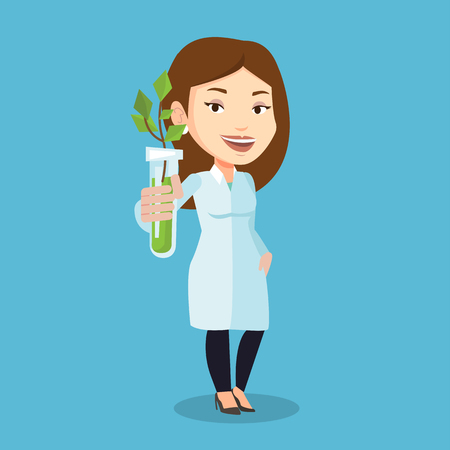 Scientist holding test tube with young sprout. Woman analyzing sprout in test tube. Laboratory assistant in medical gown holding test tube with sprout. Vector flat design illustration. Square layout.