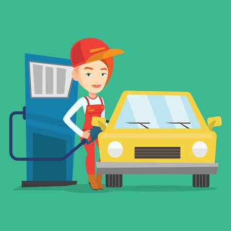 filling station: Caucasian friendly worker filling up fuel into the car. Smiling female worker in workwear at the gas station. Young gas station worker refueling a car. Vector flat design illustration. Square layout.