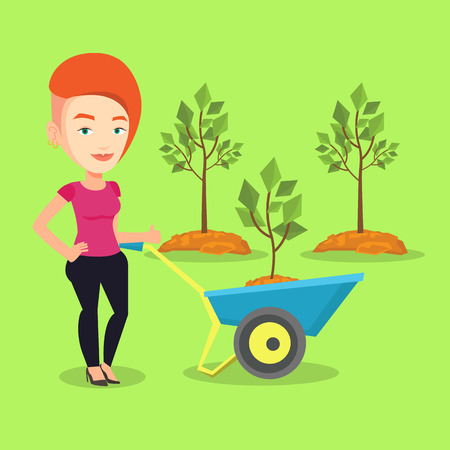 Young gardener pushing wheelbarrow with tree and dirt in the park. Caucasian female gardener with wheelbarrow on a background of newly planted trees. Vector flat design illustration. Square layout. Illustration