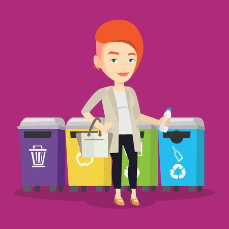 separacion de basura: La mujer caucásica tirar basura. Mujer que se coloca cerca de cuatro contenedores y tirar la basura en un contenedor apropiado. Concepto de la separación de basura. Vector de diseño plano ilustración. de planta cuadrada.