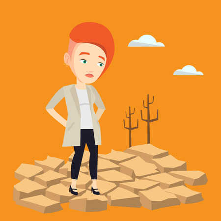 Caucasian woman standing in the desert. Frustrated young woman standing on cracked earth in the desert. Concept of climate change and global warming. Vector flat design illustration. Square layout. Stock Illustratie